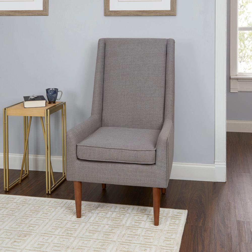 Nelson light grey high back mid century modern accent chair
