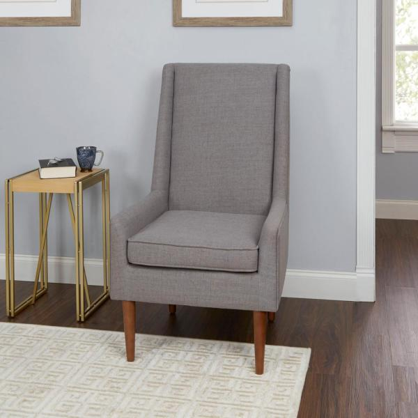 Silverwood Furniture Reimagined Nelson Light Grey High Back Mid Century Modern Accent Chair