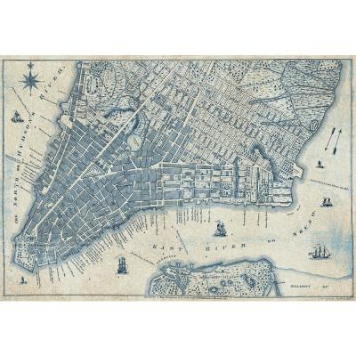 Old Vintage City Map New York Wall Mural