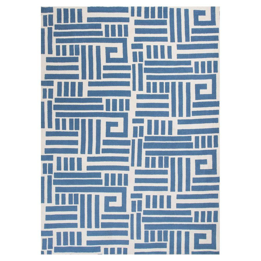 KAS Puzzel Play Blue/Ivory 5 ft. x 7 ft. Area Rug