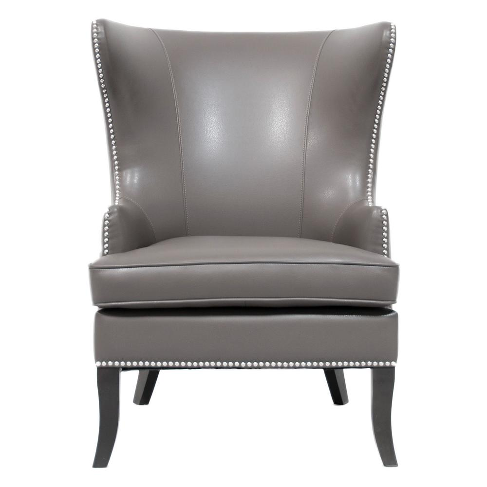 Home Decorators Collection Moore Pebble Grey Wing Back Accent Chair