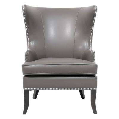 Ordinaire Moore Pebble Grey Wing Back Accent Chair
