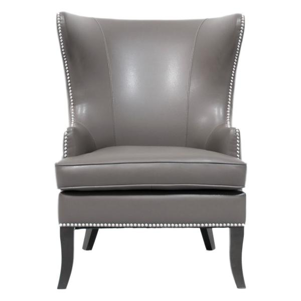 Home Decorators Collection Moore Pebble Grey Wing Back Accent Chair 1338800270