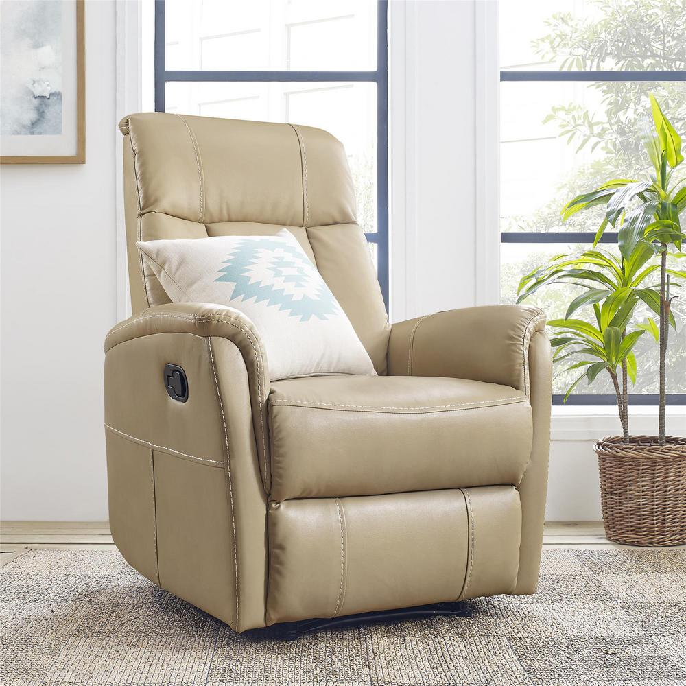 Charlotte Beige Faux-Leather Recliner
