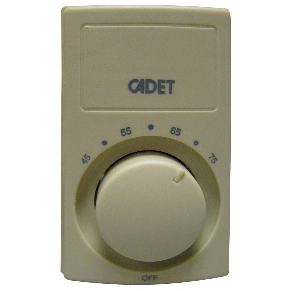Cadet C600 Series Anticipating Ivory Bimetal Double-Pole 25 Amp Wall Thermostat