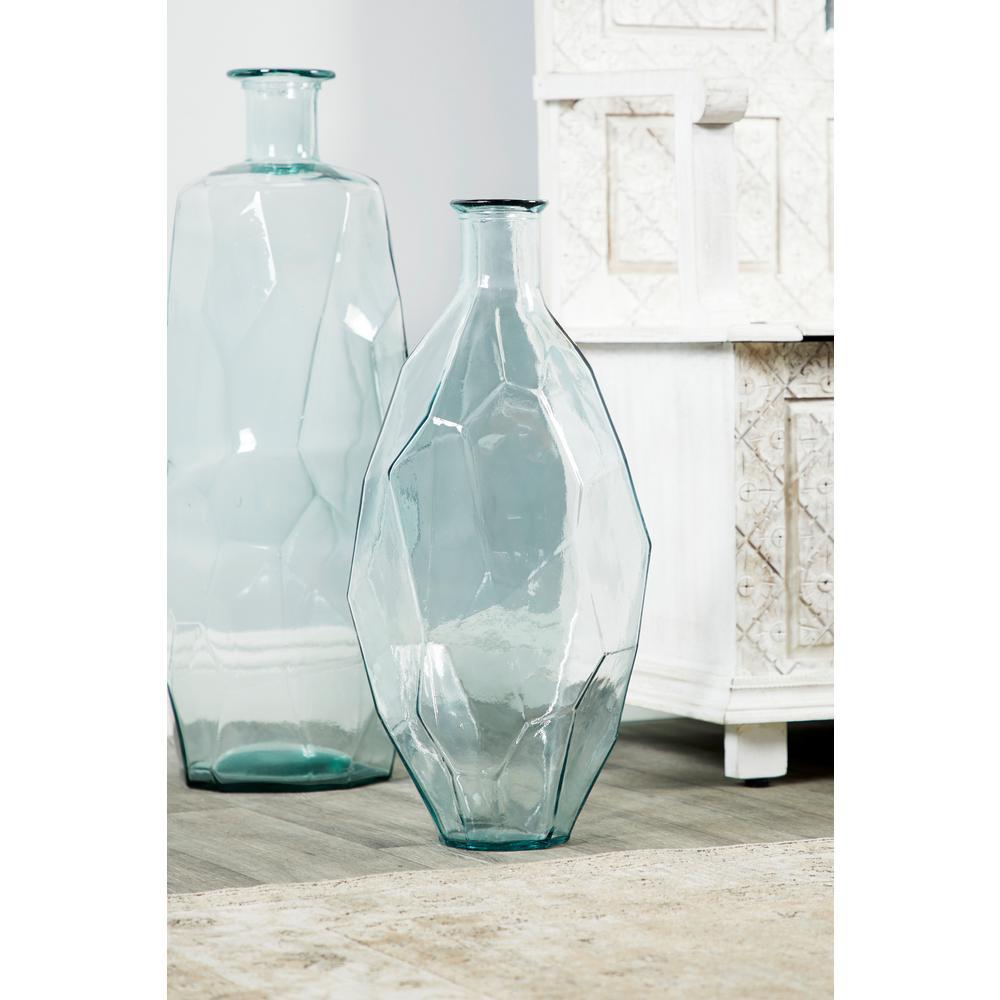225 & Litton Lane Tall Decorative Soda Lime Glass Flower Vase with Angular ...