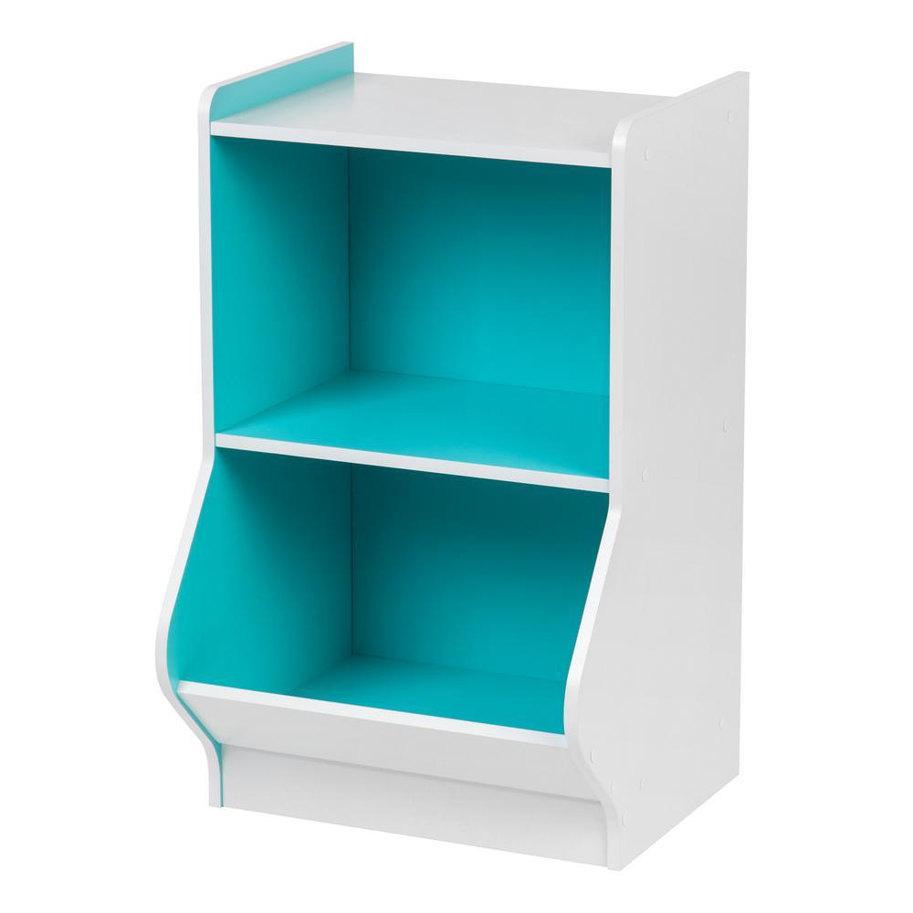 White and Blue 2-Tier Storage Organizer Shelf with Footboard