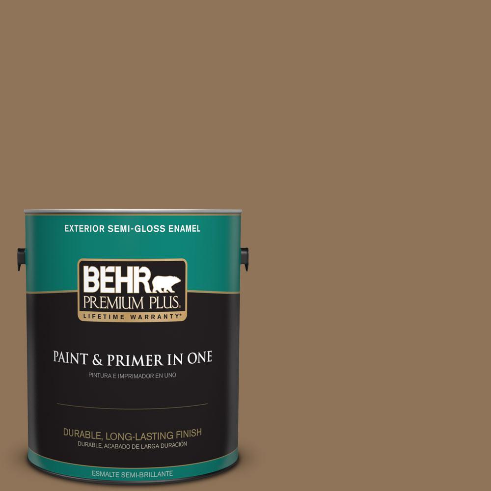 1-gal. #N270-7 Library Oak Semi-Gloss Enamel Exterior Paint