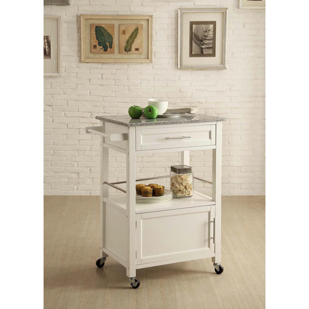 Mitchell White Kitchen Cart With Storage