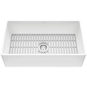 Matte Stone White Composite 33 in. Single Bowl Flat Farmhouse Apron-Front Kitchen Sink with Strainer and Silicone Grid