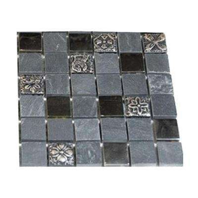 Tapestry Opium Blend 1 in. x 1 in. Marble and Glass Metal Tiles - 6 in. x 6 in. Tile Sample