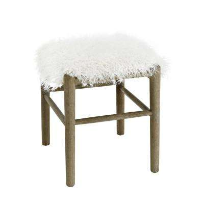 Cannon Gray Brown Washed Legs Ottoman with Faux Fur