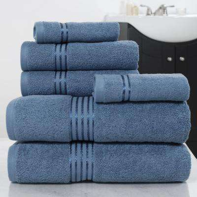 100% Egyptian Cotton Hotel Towel Set in Light Blue (6-Piece)