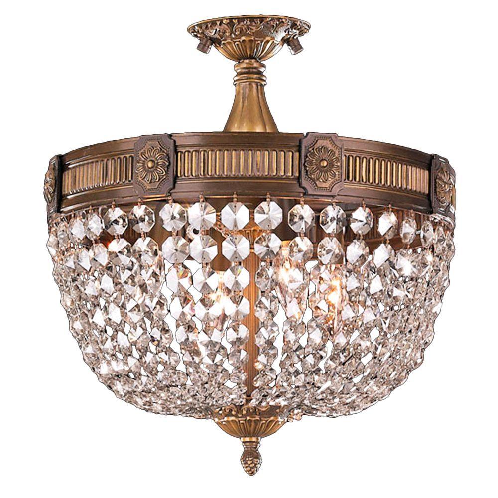 Winchester 4-Light Antique Bronze and Golden Teak Crystal Flushmount