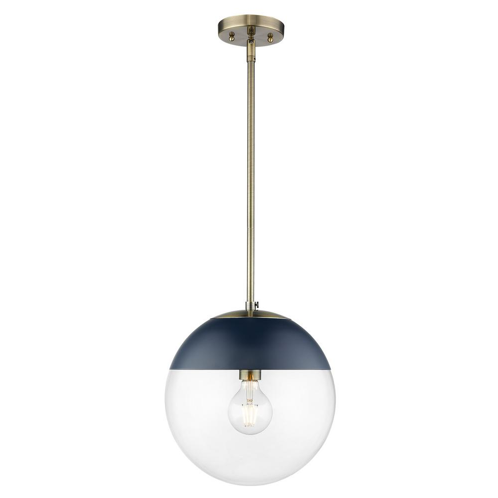 Golden Lighting Dixon 1-Light Aged Brass with Clear Glass and Navy Cap Pendant Light