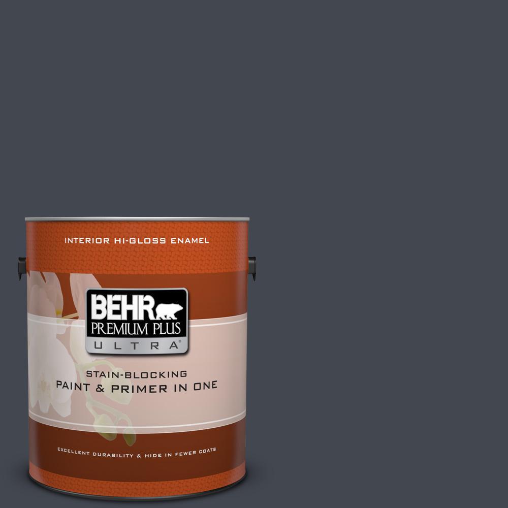 1 gal. #N490-7 Ink Black Hi-Gloss Enamel Interior Paint