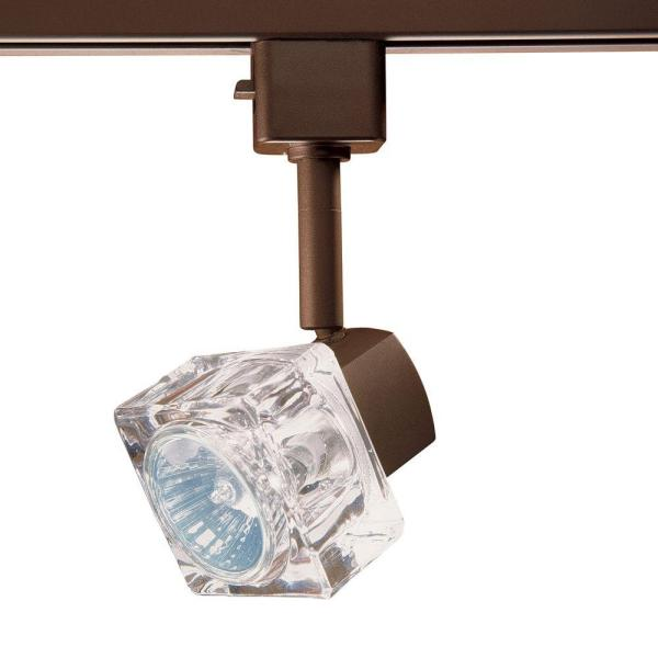 Series 12 Line-Voltage GU-10 Oil-Rubbed Bronze Track Lighting Fixture with Glass Cube