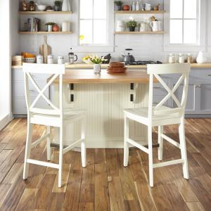 Terrific Homestyles Nantucket White Kitchen Island With Wood Top And Uwap Interior Chair Design Uwaporg