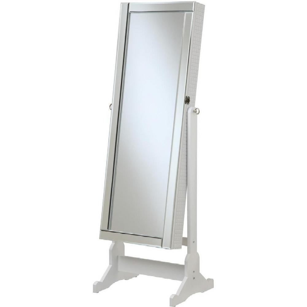 White Jewelry Cheval Mirror with Interior Storage