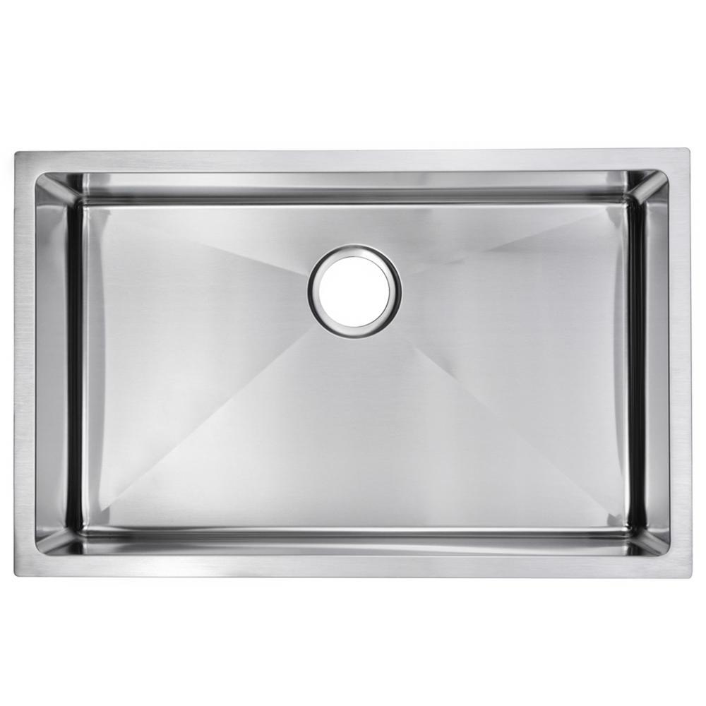 Undermount Stainless Steel 30 in. Single Bowl Kitchen Sink in Satin