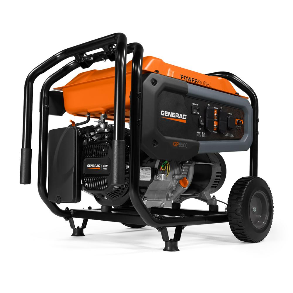 Generac GP6500- 6500-Watt Gasoline Powered Portable Generator 49/CSA with Transfer Switch Outlet for Home Backup