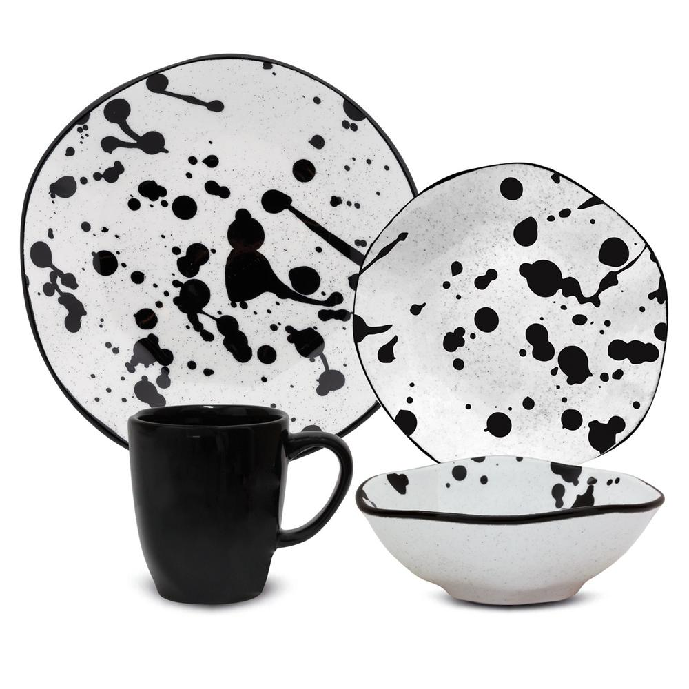 Manhattan Comfort RYO 16-Piece Casual Black and White Porcelain Dinnerware Set (Service for 4) was $179.99 now $114.63 (36.0% off)