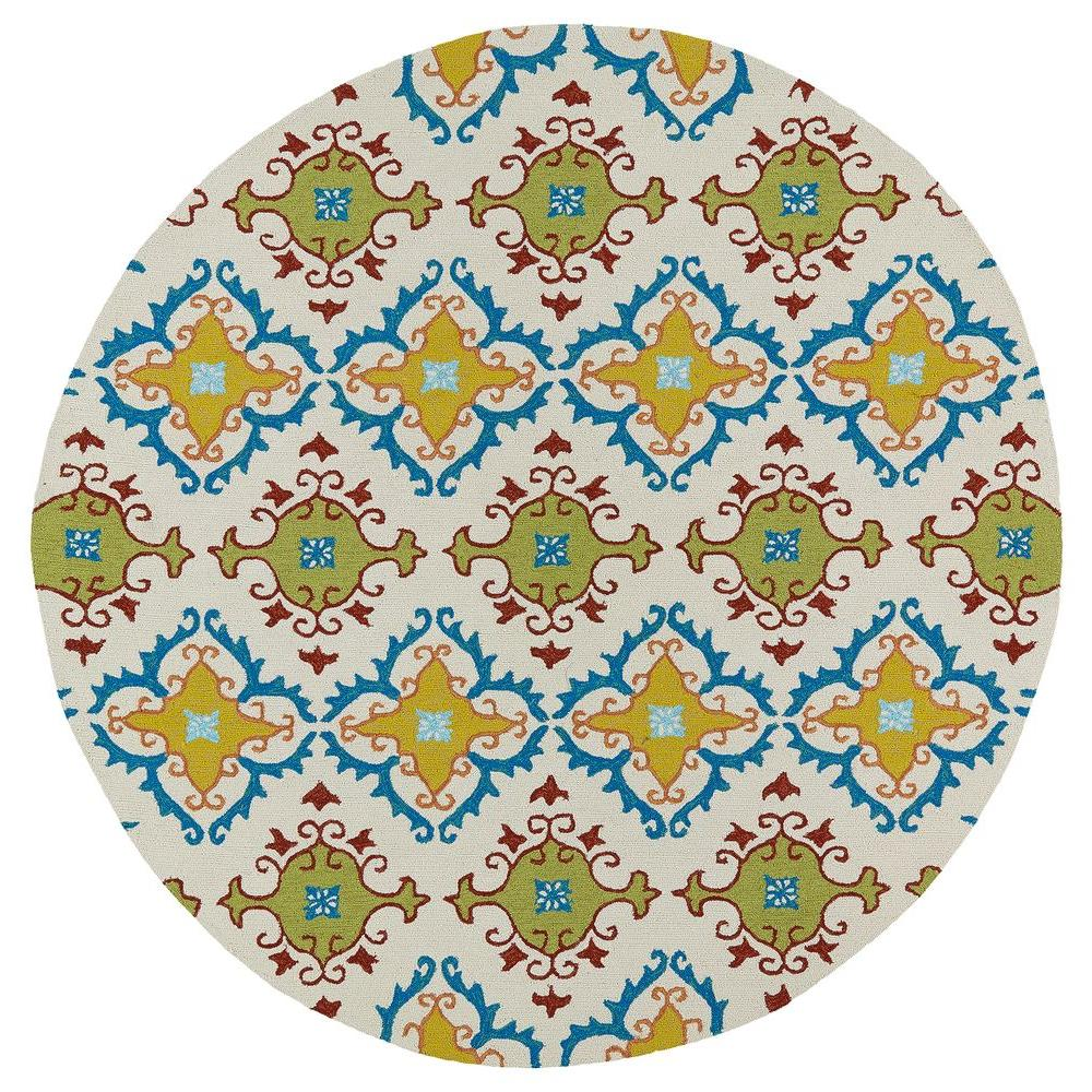 KALEEN RUG CO. Home and Porch Fiesta Tiles Ivory 8 ft. In...