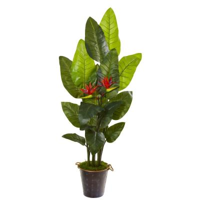 75 in. Bird of Paradise Artificial Plant in Planter