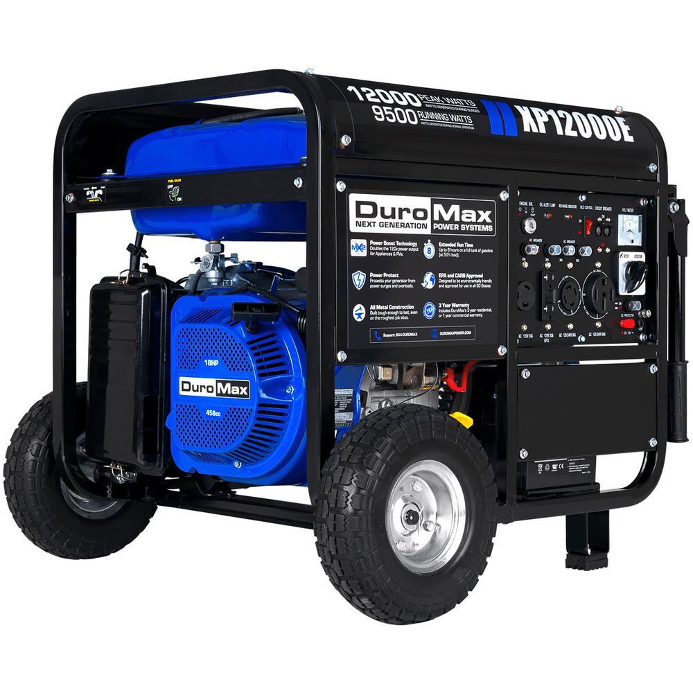 Duromax 12,000-Watt/9,500-Watt 18 HP Gasoline Powered Portable Electric  Start Generator with Wheel Kit
