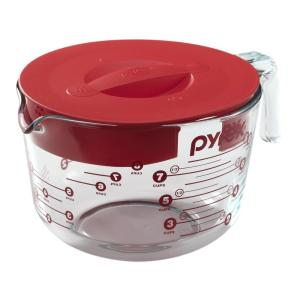 Pyrex Clear Measuring Cup with Red Lid by Pyrex