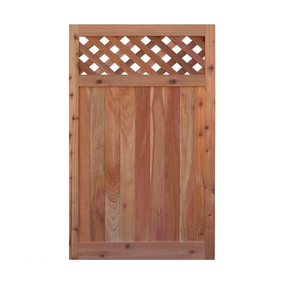 3.5 ft. H W x 6 ft. H H Western Red Cedar Flat Top Diagonal Lattice Fence Gate