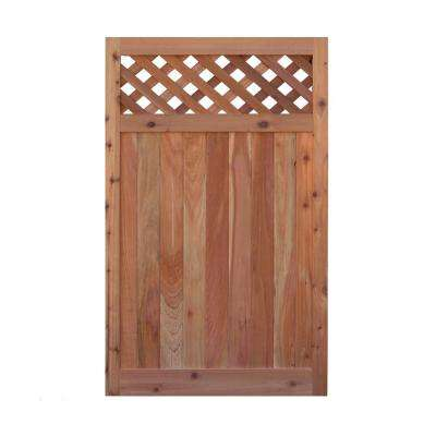 3.5 ft. H W x 6 ft. H H Western Red Cedar Flat Top Diagonal Lattice Fence Gate