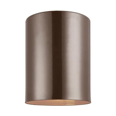 Outdoor Cylinders 6.625 in. Bronze 1-Light Outdoor Ceiling Flushmount with LED Bulb