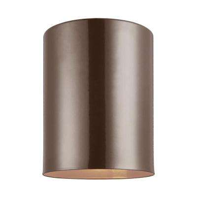 Outdoor Cylinders Bronze 1-Light Outdoor Flush Mount with LED Bulb