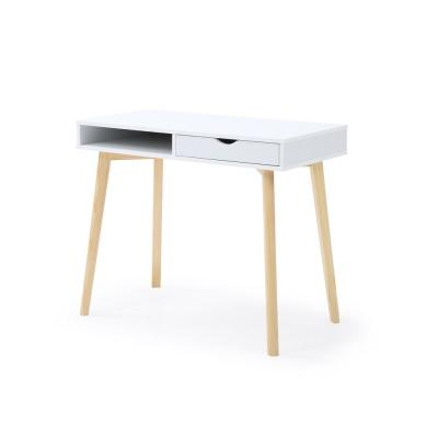 36 in. Rectangular White 2 Drawer Desk Components with Storage