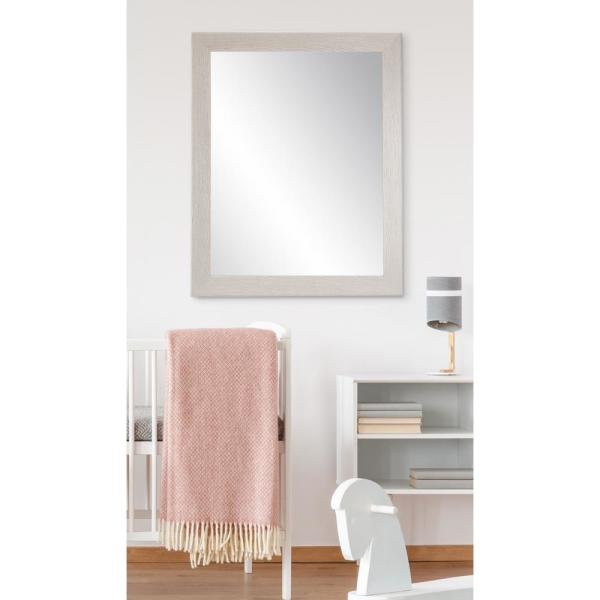BrandtWorks 32 in. x 35.5 in. Gray Wood Grain Accent Mirror