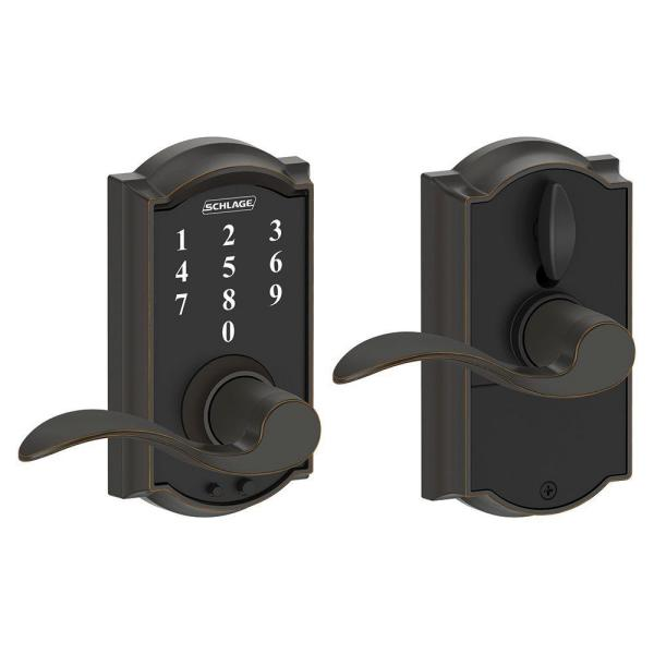 Schlage Camelot Aged Bronze Electronic Door Lock With Accent Door Lever Fe695 Cam 716 Acc The Home Depot