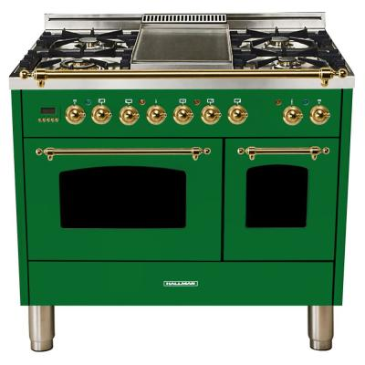 40 in. 4.0 cu. ft. Double Oven Dual Fuel Italian Range True Convection, 5 Burners, Griddle, Brass Trim in Emerald Green