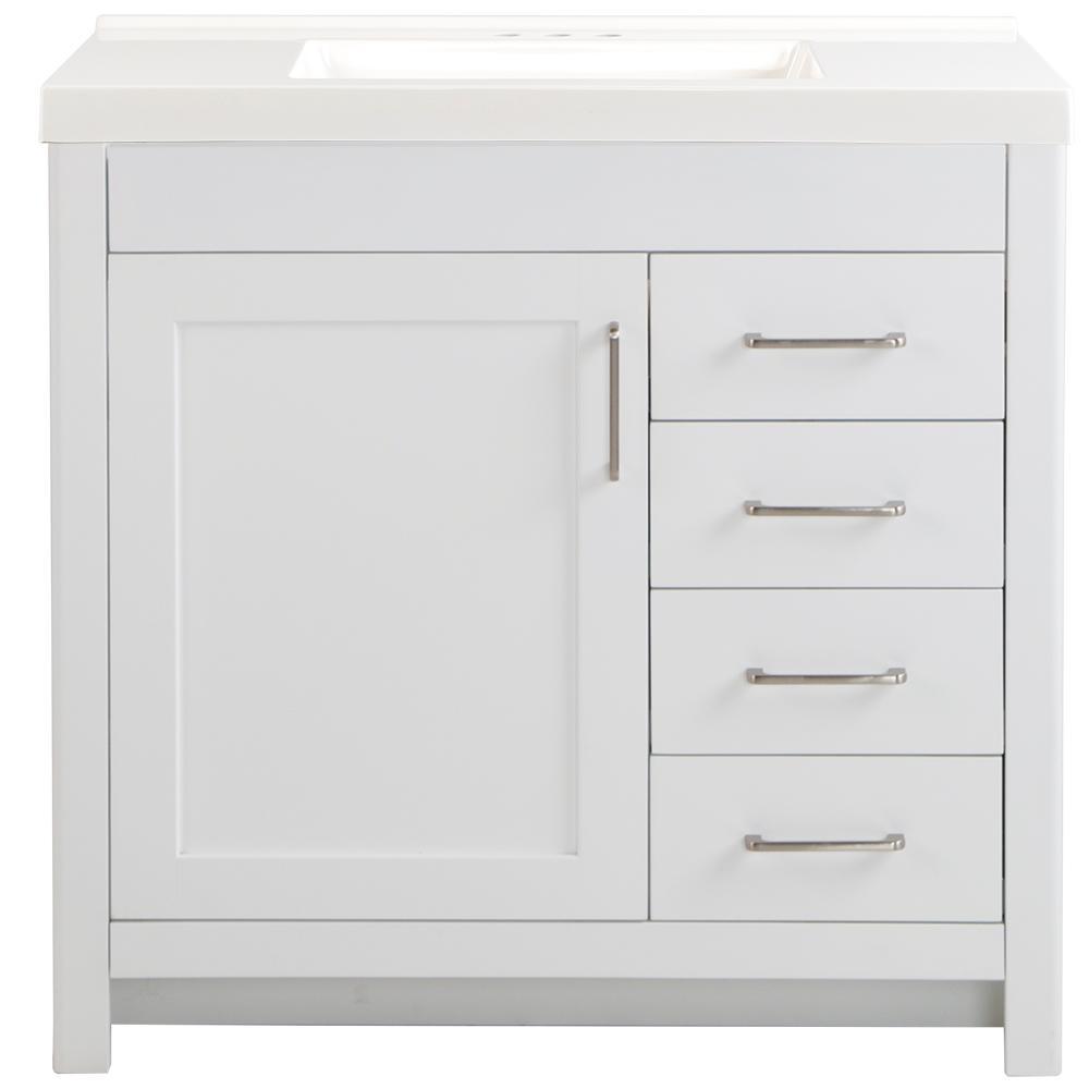 Westcourt 37 in. W x 22 in. D Bath Vanity in White with Cultured Marble Vanity Top in White with White Sink