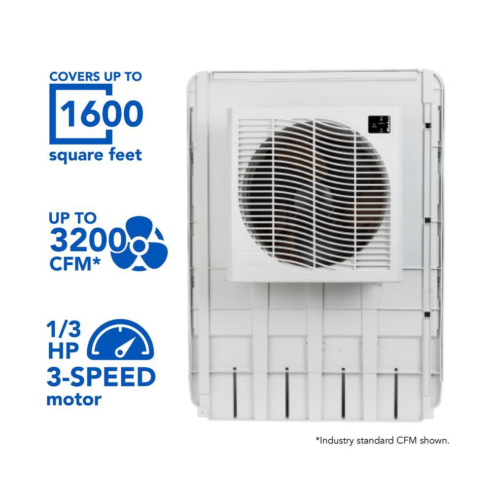 3200 CFM Slim Profile Window Evaporative Cooler for 1600 sq. ft.