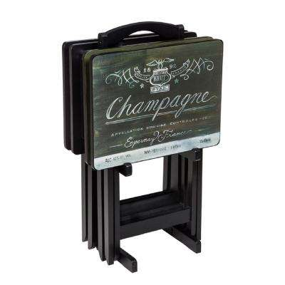 Wine Label Multi-Colored TV Tray with Stand (Set of 4)