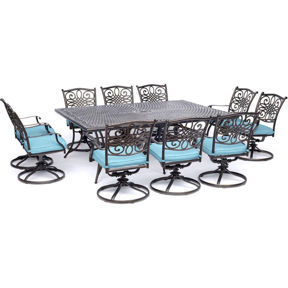 Hanover Traditions 11 Piece Aluminum Outdoor Dining Set With 10