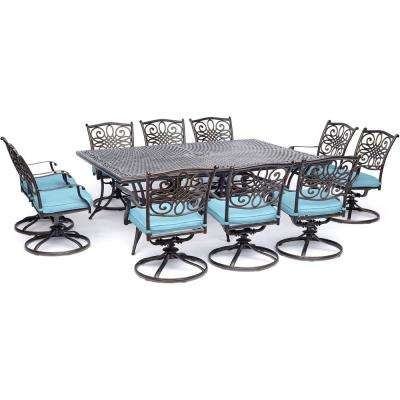 Traditions 11-Piece Aluminum Outdoor Dining Set with 10 Swivel Rockers with Blue Cushions