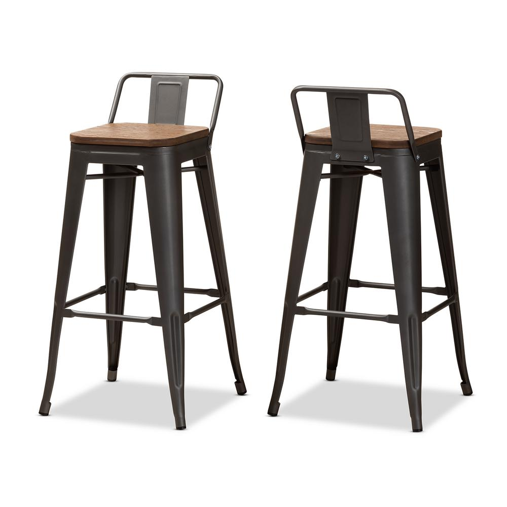 Henri 36 in. Gunmetal Gray and Oak Brown Bar Stool (Set