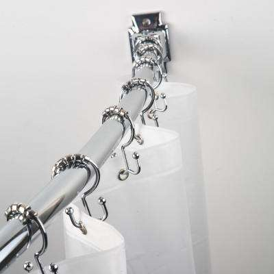 48 in. to 72 in. Curved Shower Rod Combo Pack in Chrome
