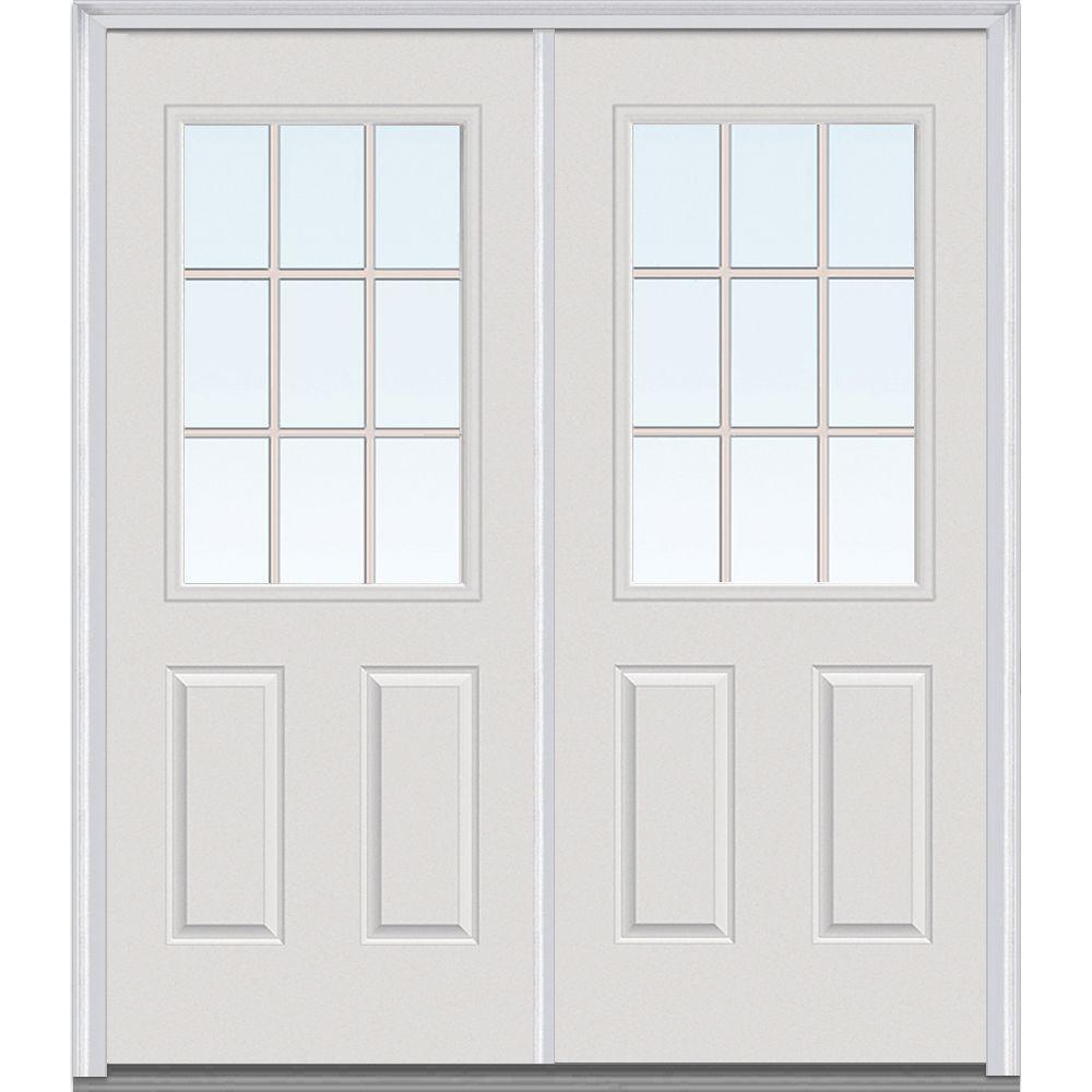 MMI Door 64 in. x 80 in. Tan Internal Grilles Left-Hand Inswing 1/2-Lite Clear Glass 2-Panel Painted Steel Prehung Front Door
