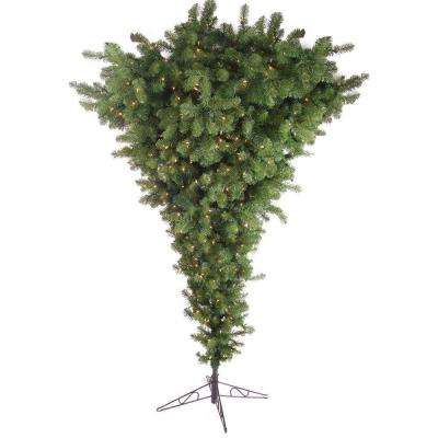 7.5 ft. Pre-Lit Upside Down Pine Artificial Christmas Tree with Clear Lights
