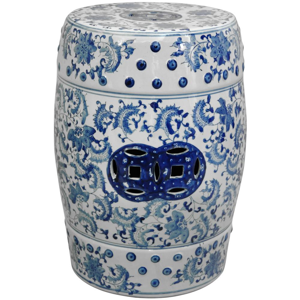 Oriental Furniture 18 in. Floral Blue and White Porcelain Garden Stool