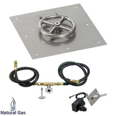 12 in. Square Stainless Steel Flat Pan with Spark Ignition Kit (6 in. Ring) Natural Gas