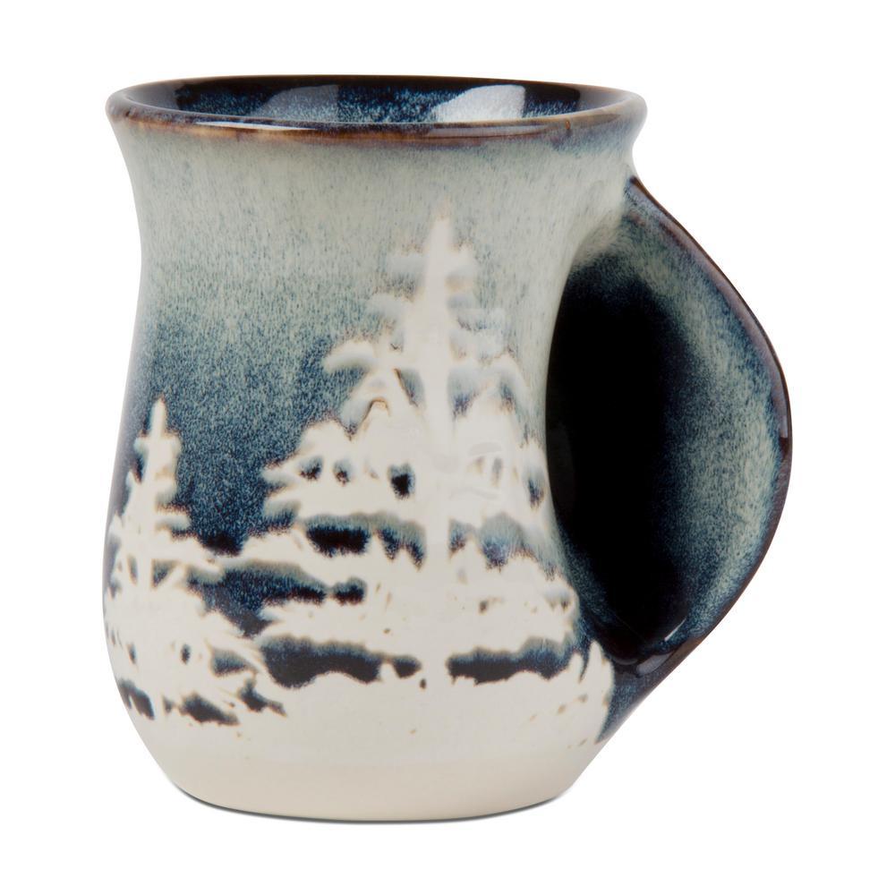 Forest Reactive Glaze 18 oz. Midnight Blue Stoneware Hand Warmer Mug